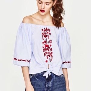 New ZARA embroidered top